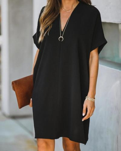 Women's V-neck Short Sleeve Solid Color Loose Dress Fashion Clothing Female Summer Party Dress