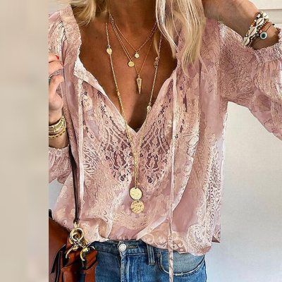 Summer Women Blouses Elegant V Neck Bottoming Long-sleeved Pink Shirt Lace Hook Flower Hollow Casual Shirts Blouse Plus Size 3XL