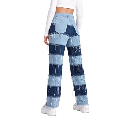 Streetwear Patchwork Tassel Y2K Woman Jeans Straight Casual Contrast Color Long Denim Pants Vintage Autumn Jeans Slim