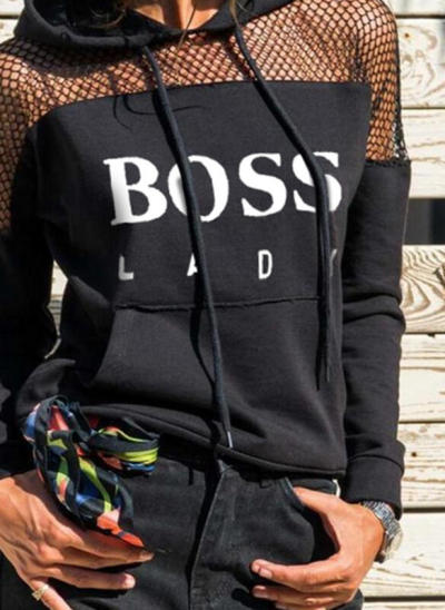 Letter boss Lady Print Women Long Sleeves Shirts Cotton Casual Hollow Out Shirt Pullover For Lady Yong Girl Top Hoody Drop Ship