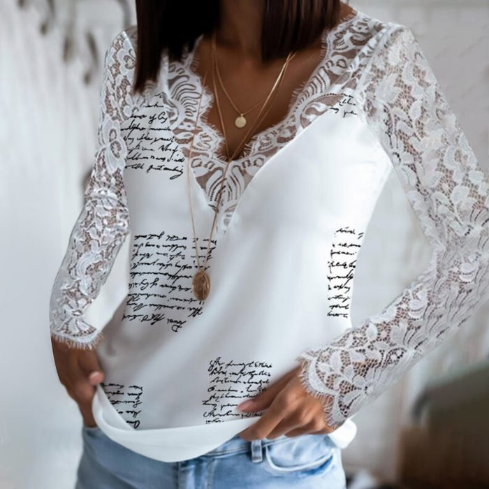 Womens Hollow Out Blouses Sexy Lace Stitching Letter Printing Patchwork Long-sleeved Pullover Top Casual Shirt