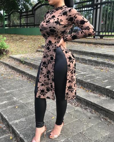 2021 Spring Women Fashion Mesh Print Long Tops High Collar High Split Casual Shirts long sleeve womens shirts roupas feminina