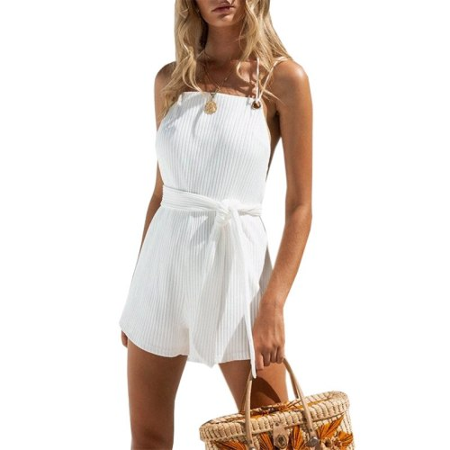 Summer New Fashion Sexy Women Backless Short Jumpsuit Sashes Solid Playsuits Casual Female Overalls FC300