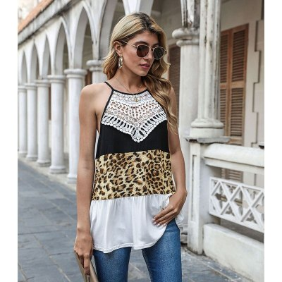 Women's Leopard Print Vest Strapless Round Neck Slim Printed Stitching Ladies Outdoor Temperament Casual Party Top 2021 New