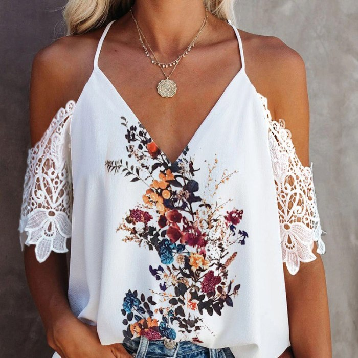 Spaghetti Strap Print Lace Patchwork Women's Blouse V-neck Backless Female Blouses 2021 Spring Summer Fashion Ladies Top