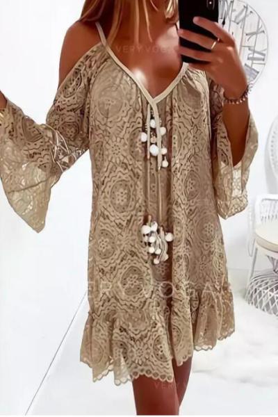 Summer Lace Dress For Women Casual Off Shoulder Dress Hollow Out Flower Tassel Long Flare Sleeve Dress Lady Vestidos Verano