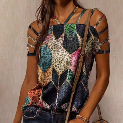 2021 Sexy Off Shoulder Leopard Blouse Spring O-Neck Loose Shirt Women Summer Hollow Out Pullover Long Sleeve Skull Head Tops