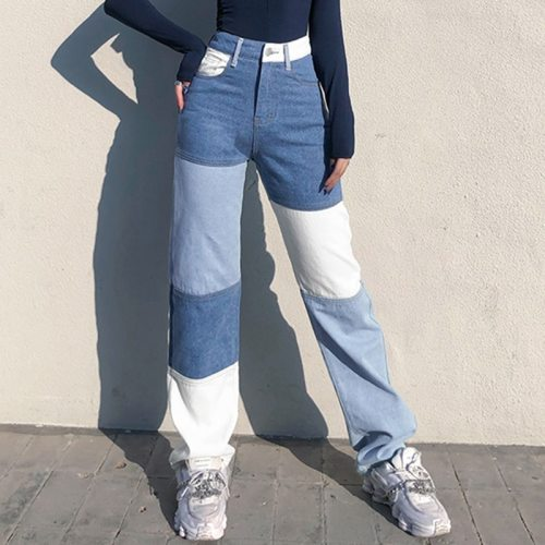 Fashion Women High Waist Jeans Streetwear Colorblock Patchwork Vintage Design Button Fly Straight Denim Pants Slim Jean