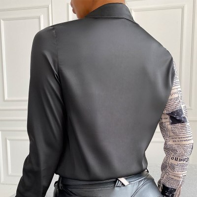 Fashion Retro Print Stitching Bottoming Shirt Women Letter long Sleeved Office Lady Shirts Summer Casual Elegant Top Female