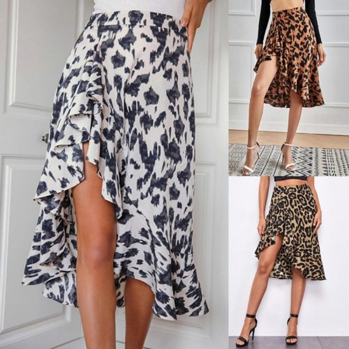 2021 Women Skirt Leopard Print High Waist Split Asymmetrical Personality Elegant Ladies Beach High Street Elastic Outfits