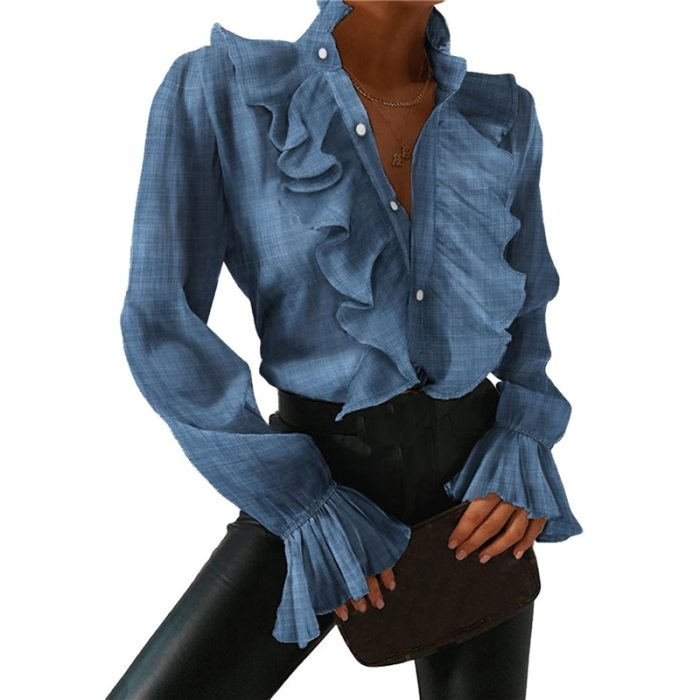 Women Shirt Blouse Low-cut Falbala Collar Long Pagoda Sleeve with Buttons for Spring and Autumn Shirts Chemisier Femme