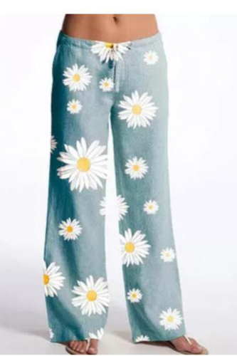 2021 New Hot Sale Printed Cotton And Linen Casual Trousers Wide Leg Pants Women