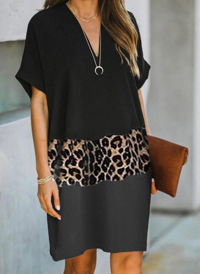 Women Leopard Patchwork Dress Short Sleeve V Neck Loose Dress Office lady Dresses Clothing