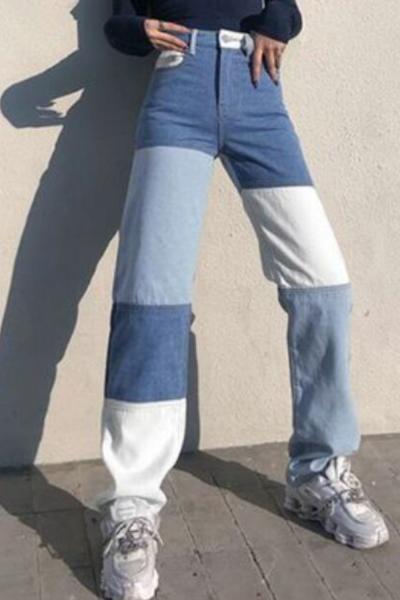 Fashion Women High Waist Jeans Streetwear Colorblock Patchwork Vintage Design Button Fly Straight Denim Pants Slim Jean