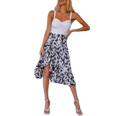 2021 Women Skirt Leopard Print High Waist Split Asymmetrical Personality Elegant Ladies Beach High Street Elastic Outfits