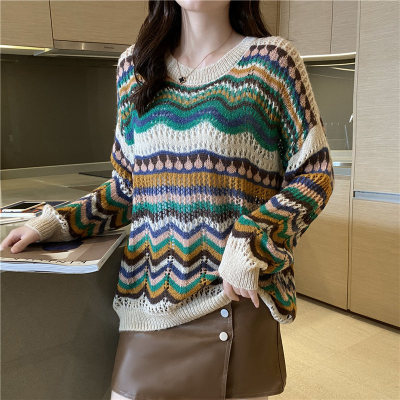 Retro Tide  Hollow Knit Sweater Women'S Thin Mohair Loose Sweater Top