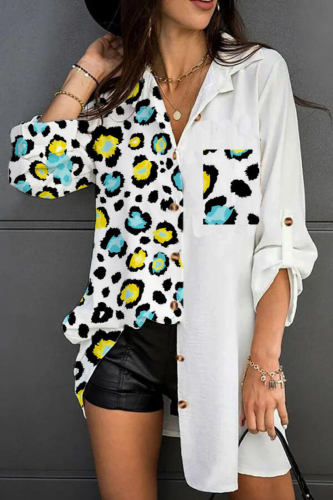 Women Loose Plus Size Floral Print Patchwork Pocket Blouse 2021 Spring Summer Ladies Casual Long Sleeve Turn-Down Collar Shirts
