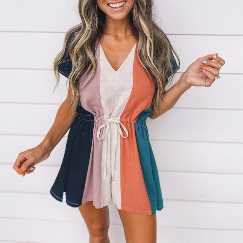 Women Striped Contrast Color Jumpsuits Summer Short Sleeve Drawstring Back Zipper Loose Leisure Wear Party Playsuits