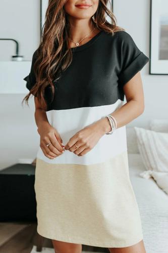Women'S Casual Short-Sleeved Striped Dress