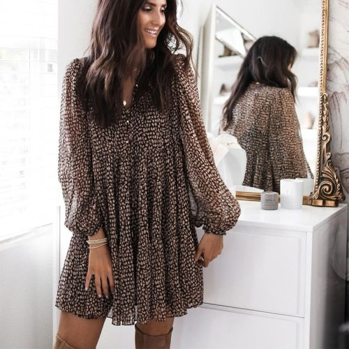 Women Leopard Print Lantern Sleeve Loose Draped Mini Dress 2021 Spring Casual V-Neck Long Sleeve A-Line Dresses Party Vestidos