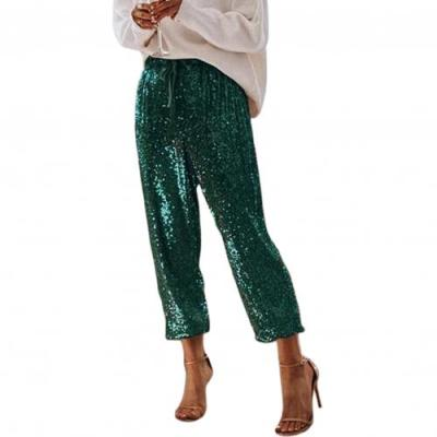Spring sexy new popular women long pant sequined shiny sexy trousers for women sexy solid slim trouser