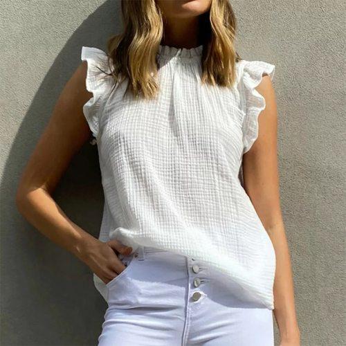 Women Ruffles Solid Sleeveless T-Shirts 2021 Summer New Turtleneck Straight Pullover Female Slim White Leisure Wear Tops Tees