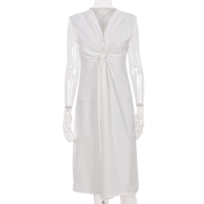 2021 Summer Slim Deep V-Neck Tie Dress Women'S Clothing