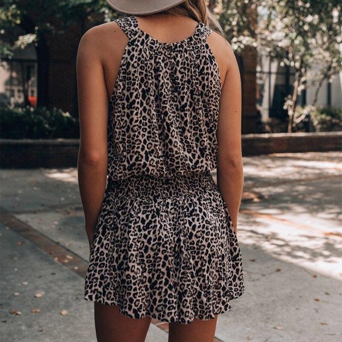 Sleeveless Leopard Print Summer Dress Women Casual Beach Boho Short Sundress Chiffon Feminino Clothing