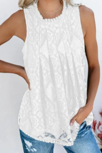 2021 Summer Elegant Splicing Round Neck Short Sleeve Top Female Casual Sweet Sleeveless Vest Lace Decoration Large Size S-XXL