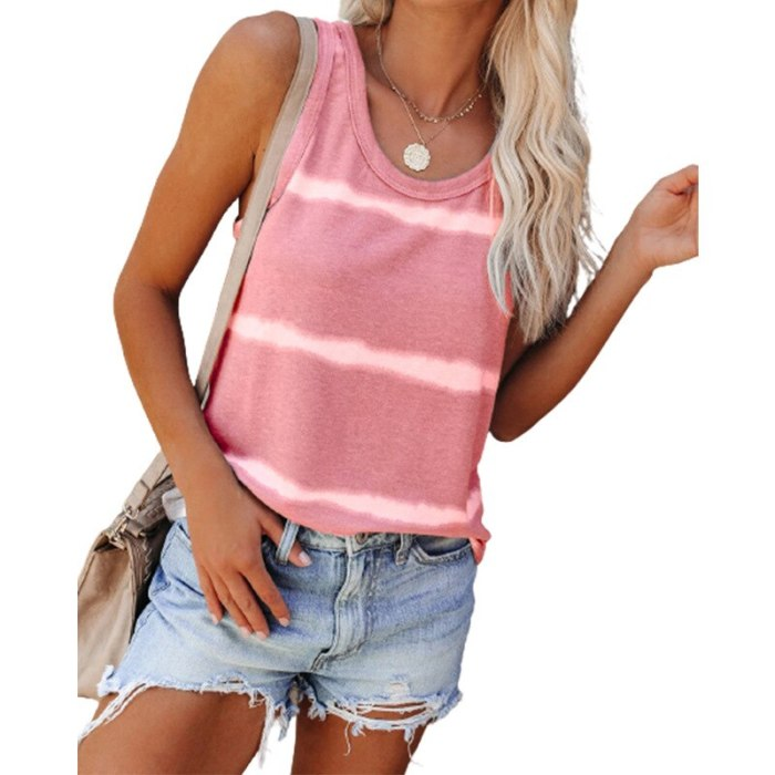 Striped Printed Loose Tank T shirt Women 2021 New Summer Beach Tees Plus Size Sexy Sleeveless O-Neck Casual Vest Female T shirts