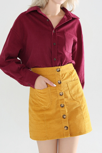 2021 Summer Casual Button A-Line Skirt Short Skirt Corduroy Skirts