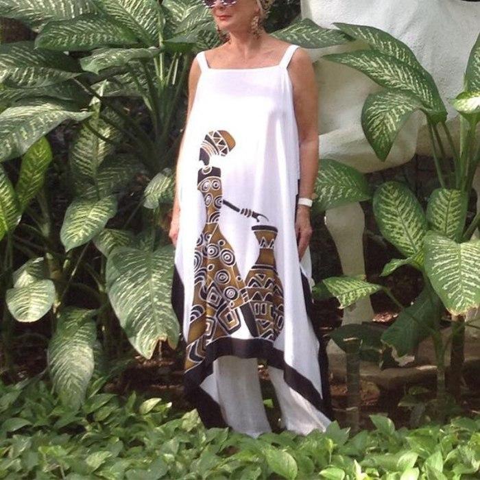 2021 Summer Loose Print Hit Color Large Size Sling Dress Women