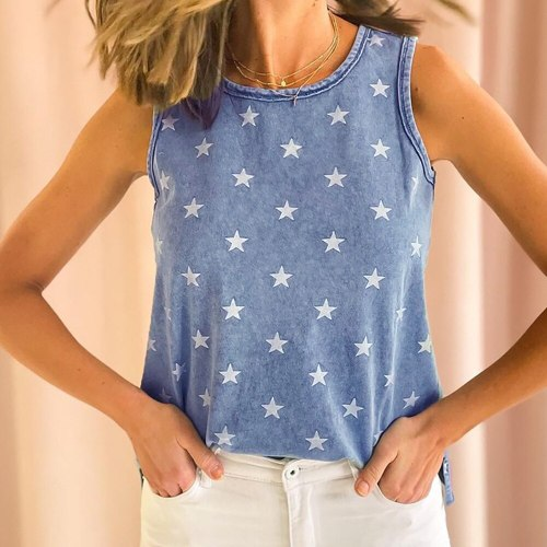 Stars Printed Denim Blue Sleeveless T Shirts Women Girls Summer Super Chic Tees Tops 2021 New Korean Female Casual Streetwear