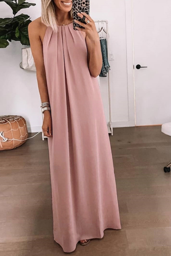 Sexy Dress With Halter Strap And Big Swing Skirt Solid Dresses