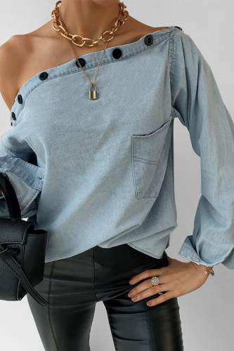 Women Sexy Off Shoulder Long Sleeve Denim Blouses 2021 Spring New Loose Pocket Button Female Casual Blue Streetwear Denim Tops