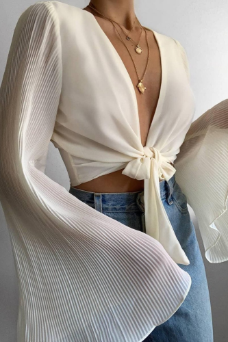 2XL Women Sexy Deep V Neck Tie-up Blouse 2021 Spring Flare Long Sleeve Rib Shirts Summer Solid Hollow Out Party Tops Blusa Mujer