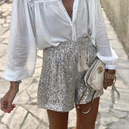 2021 Summer Casual Waist Loose Sequin Belt Shorts Hot Pants Women's Clothing