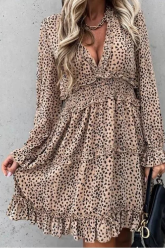 Sexy Deep V Neck Leopard Print Women Dress 2020 Autumn Winter Long Sleeve Ruffles A-Line Dresses Elastic Waist Party Vestidos
