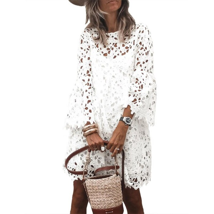 White Dress Lace 2021 Spring Summer Clothes for Women Flared Sleeve Casual Loose Two Pieces Mini Ruffles Dresses Party Vestidos