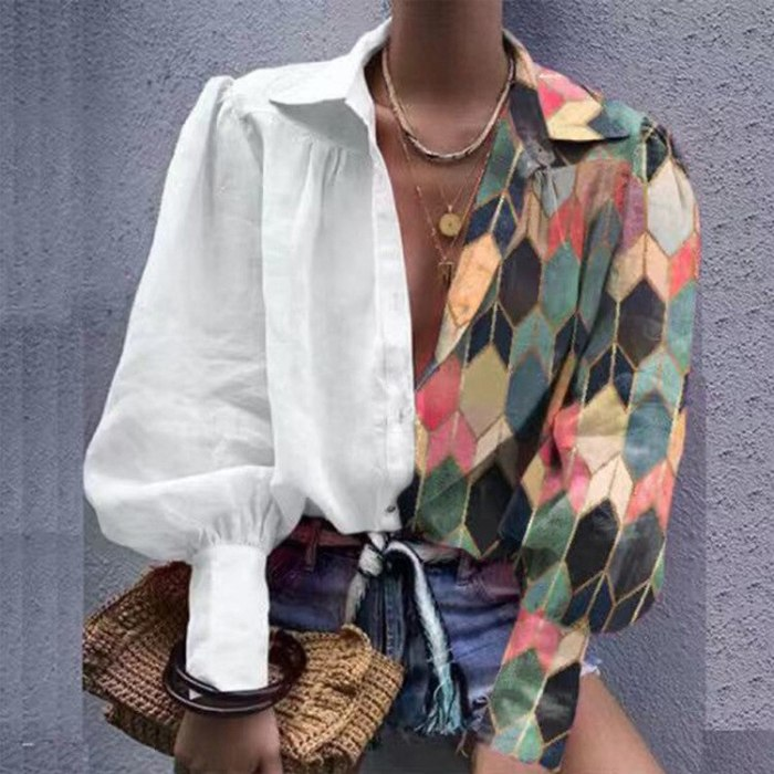 Women Printed Contrast Color Loose Shirts 2021 Spring Summer New Ladies Lantern Sleeve Lapel Buttons Casual Blouse Top Plus Size