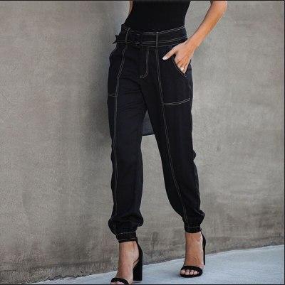Black Casual Pants Women Higj Waist Tie Feet Pants Sashes Solid Color Spring Summer Fashion Women Bottoms Pants Lugentolo