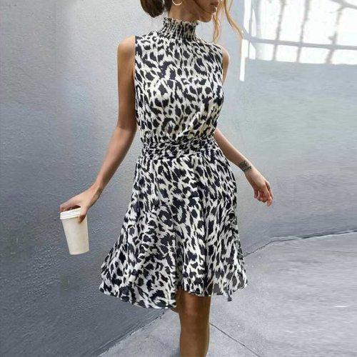 Vintage Black White Leopard Print Dress 2020 Summer Holiday Turtleneck Sleeveless Beach Party Dress Women