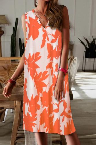 Hot Sale Summer 2021 V-neck Broadband Sleeveless Tie-Dye Dress Women