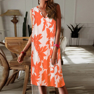 Hot Sale Summer 2021 V-neck Broadband Sleeveless Tie-Dye Dress Women