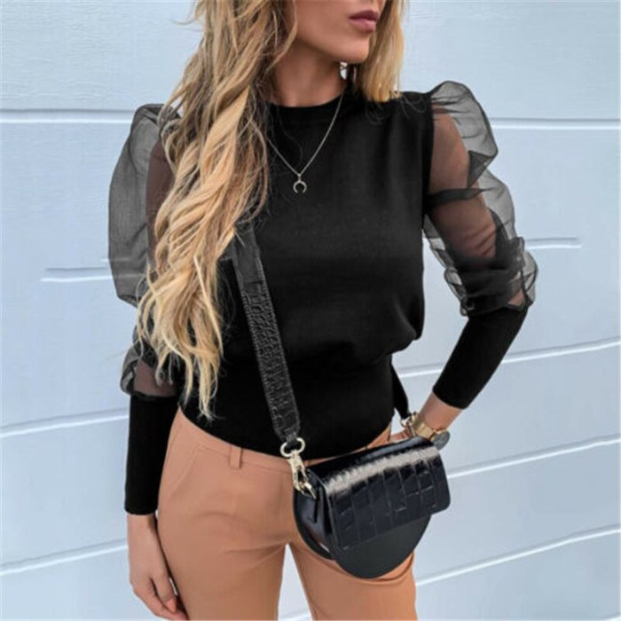 Brand New Autumn Winter Wear Women Patchwork Mesh Puff Sleeve Tops Pullover Sweater Fashion Casual Loose Jumper Shirt