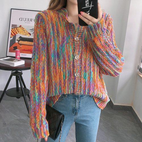 Knit Sweater Women Loose Wear Early Autumn Rainbow Cardigan Jacket Top Woman Sweaters  Knitted Sweater