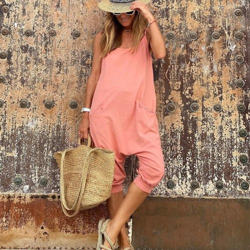 2021 Summer Hot Style Loose Casual Pants Suspender Top T-shirt Jumpsuit Women's Clothing