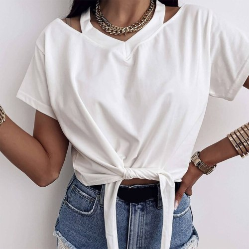 Halter Off Shoulder Casual Women's T-shirts Short Sleeve O-Neck Waist tie Solid Woman Tshirts 2021 Summer New Fashion White Top