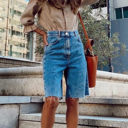 Female Denim Shorts Adult Casual High-Waisted Fringed Jeans Five-Point Pants In Summer and Autumn Blue S / M / L / XL