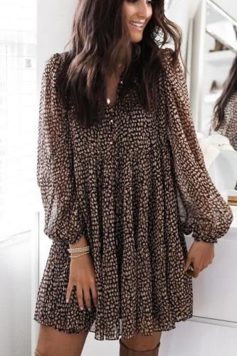 Women Leopard Print Lantern Sleeve Loose Draped Mini Dress 2021 Spring Casual V-Neck Long Sleeve A-Line Dresses Party Vestidos